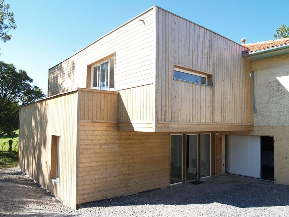 extension bois maisons de style de style moderne par atelier fabrice delettre homify. Black Bedroom Furniture Sets. Home Design Ideas