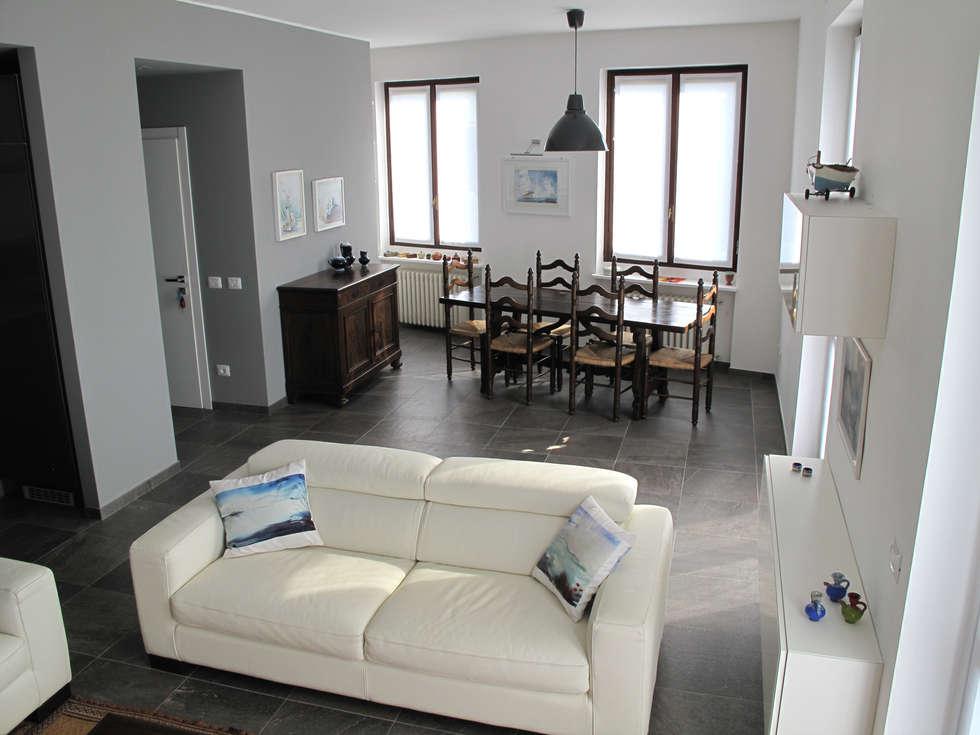 Villa Meina: Sala da pranzo in stile in stile Moderno di Matteo Verdoia Architetto