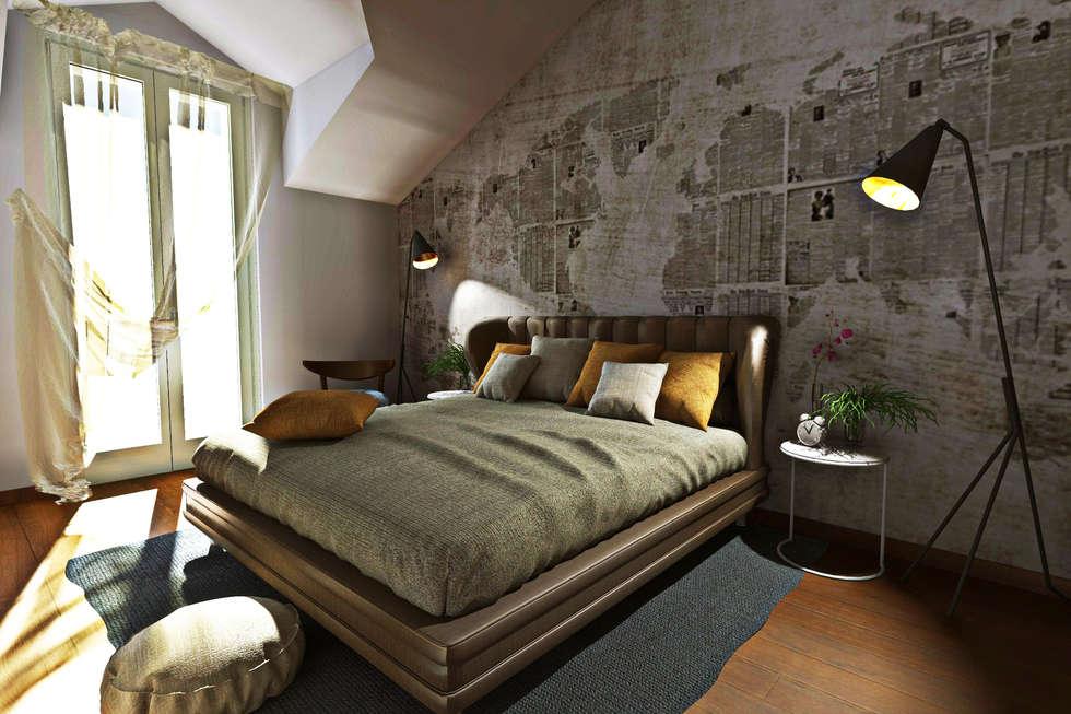 Modellazione di interni soggiorno camera da letto: camera da letto ...