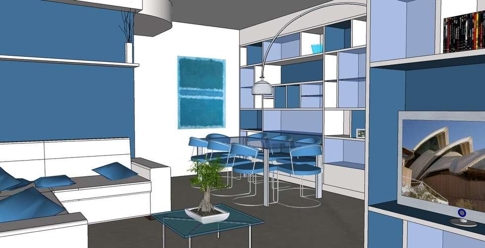 """""""Two colours"""": Soggiorno in stile in stile Moderno di Studio Architetto Daniele Agostinelli"""