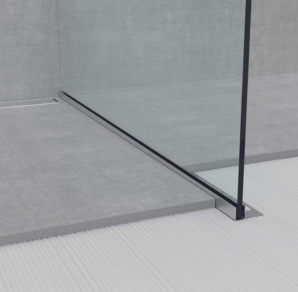 GU TGU Glass Profile: Bagno in stile in stile Moderno di Profilpas