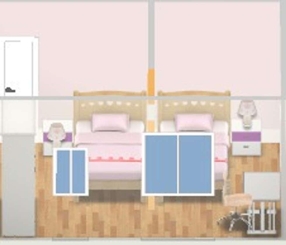 Plan 3D chambre fillettes: Chambre d'enfant de style de style Moderne par Adriana Art Déco