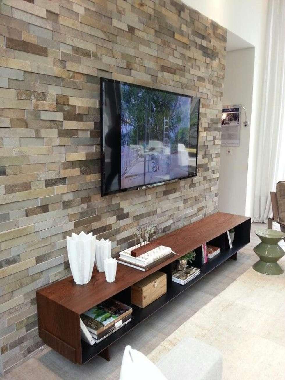 18 Revestimentos De Pedra Lindos Para A Decora O Da Casa -> Parede Da Sala Com Filetes