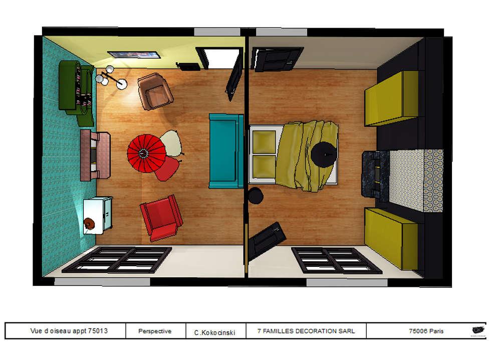 Espace salon chambre esprit vintage: Salon de style de style eclectique par cecile kokocinski