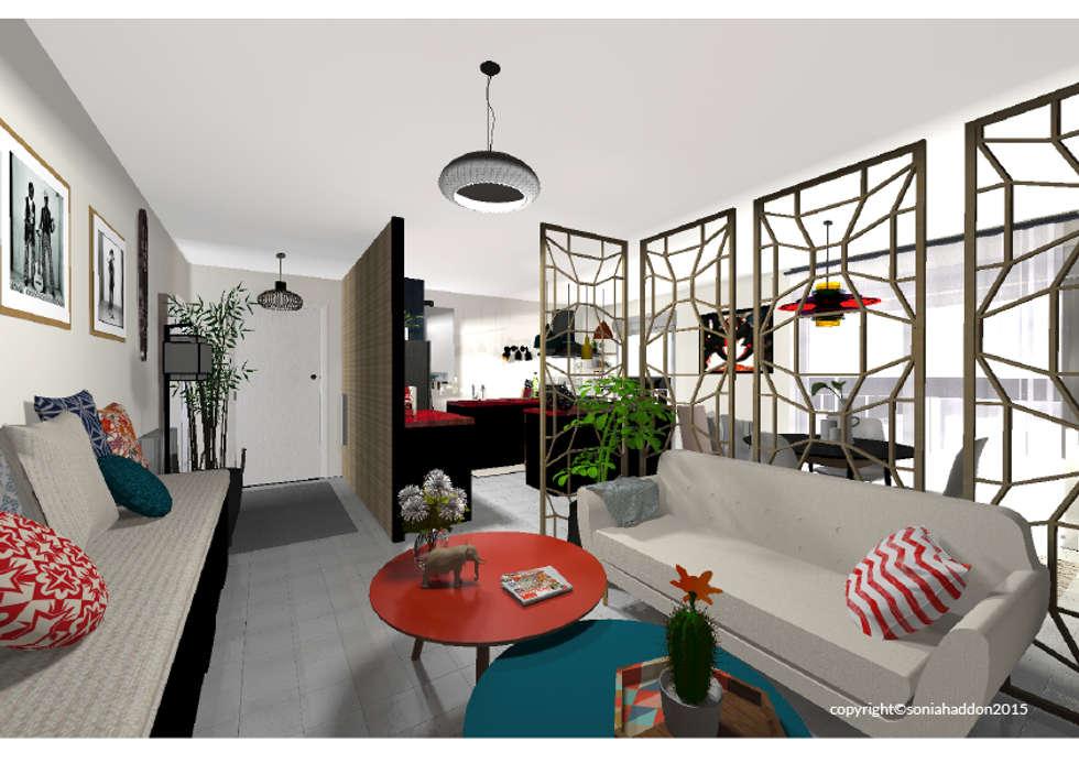 Aménagement d'un appartement en Isère: Salon de style de style Moderne par Sonia HADDON Interior Designer