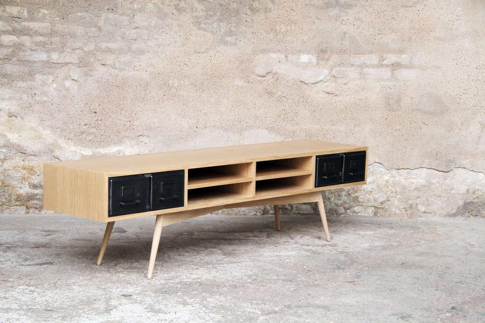 meuble tv style vintage. Black Bedroom Furniture Sets. Home Design Ideas