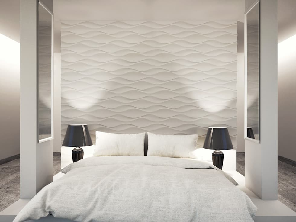 Moderne Schlafzimmer Bilder: Dekorative Wandverkleidung Aus Gips ... Wandverkleidung Modern Schlafzimmer