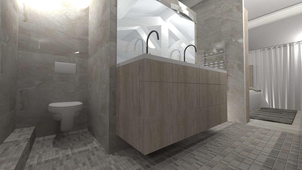 Loft 100m² salle de bain ouverte sur la chambre: Maisons de style de style Moderne par AZ Createur