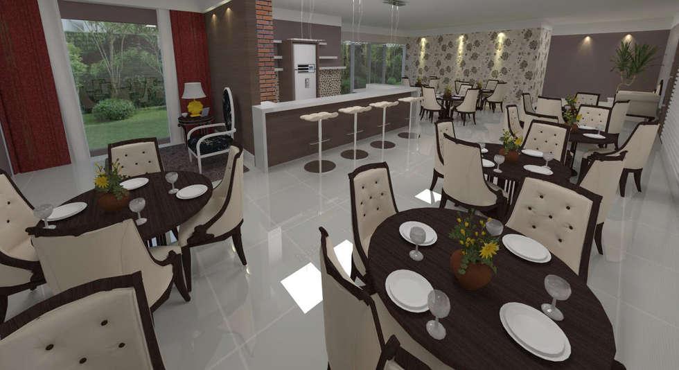 Salão de festas :   por Deborah Iachinski Arquitetura & Interiores