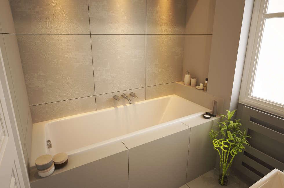 salle de bain carrelage beige: Salle de bains de style  par Agence KP