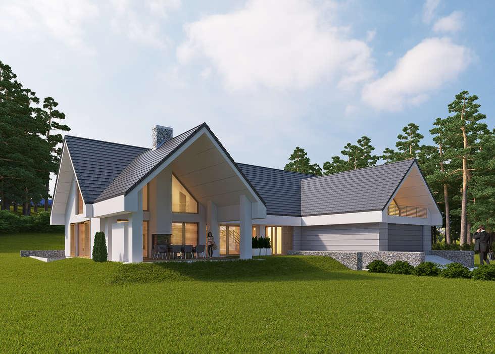 LK&1172: styl nowoczesne, w kategorii Domy zaprojektowany przez LK & Projekt Sp. z o.o.