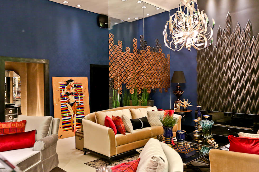 Casa Cor Sc 2014 - Studio BC Celebrate 50th: Salas de estar ecléticas por Daniela Vieira Arquitetura