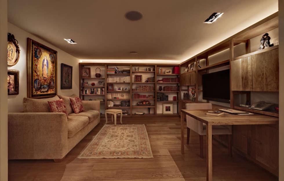 Departamento Polanco 1: Salas multimedia de estilo moderno por Lopez Duplan Arquitectos
