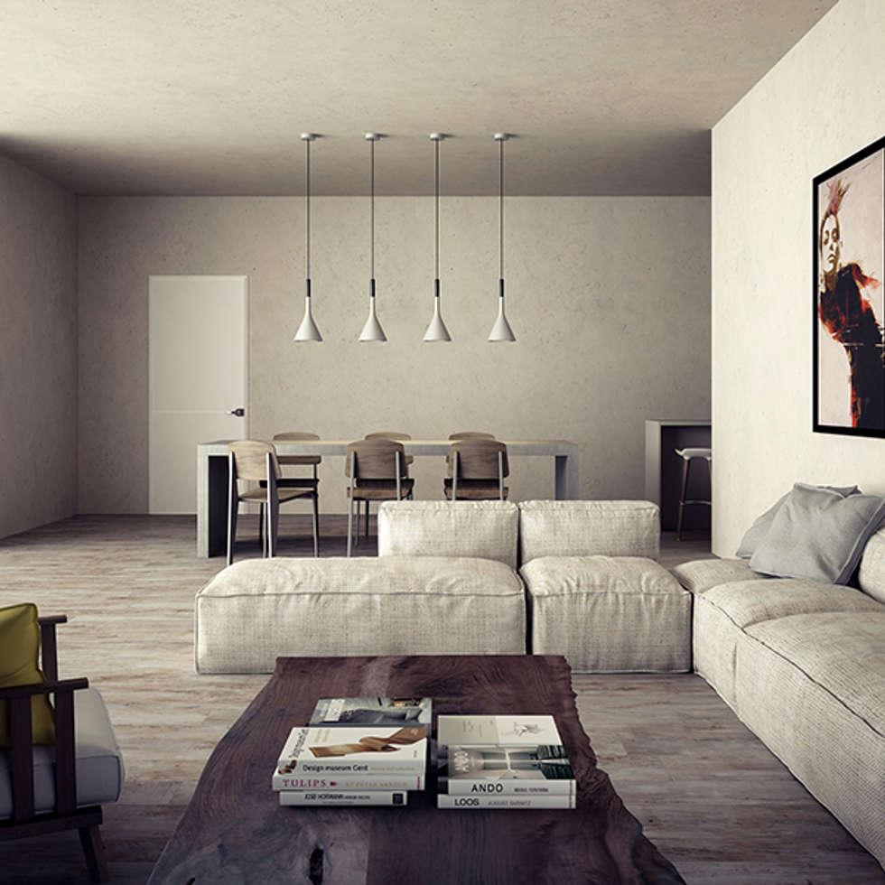 v05_soggiorno: Soggiorno in stile in stile Moderno di Studiod3sign