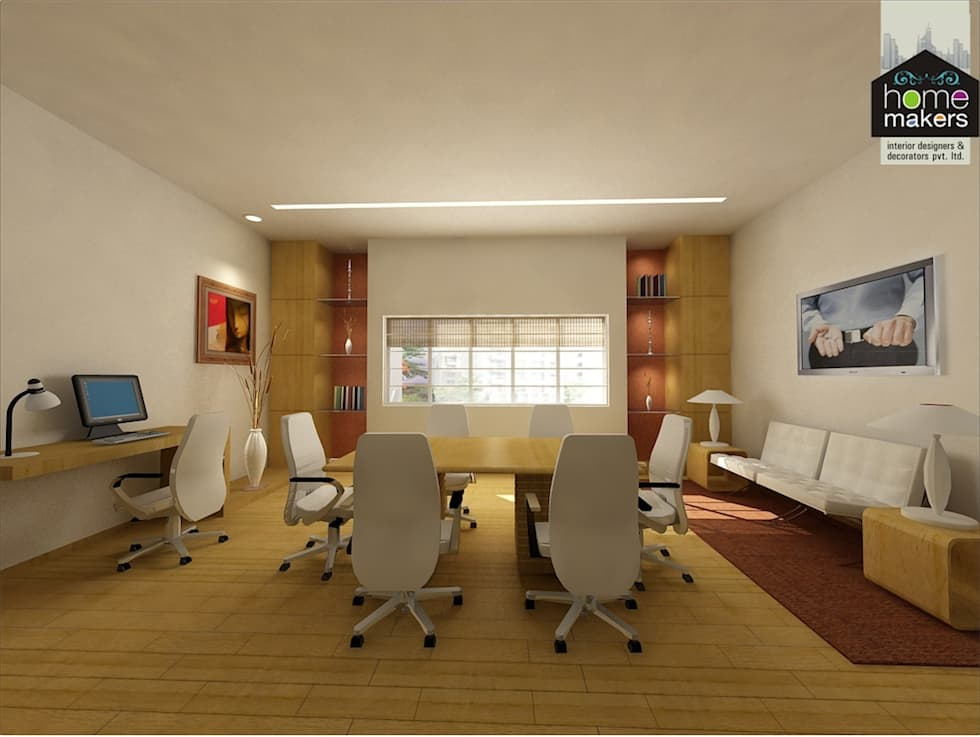 Office Chamber: modern Media room by home makers interior designers & decorators pvt. ltd.