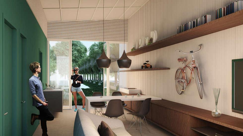 CASA PVC _ BRASKEM: Salas de estar modernas por AF Arquitetura