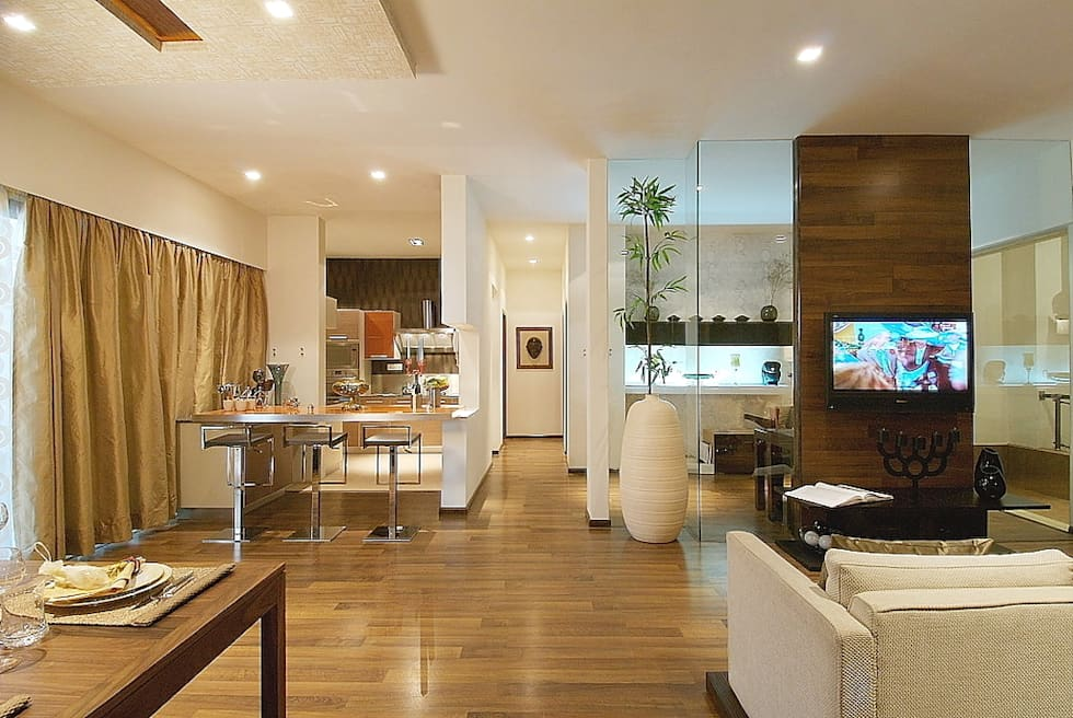 LIVING ROOM: modern Houses by shahen mistry architects