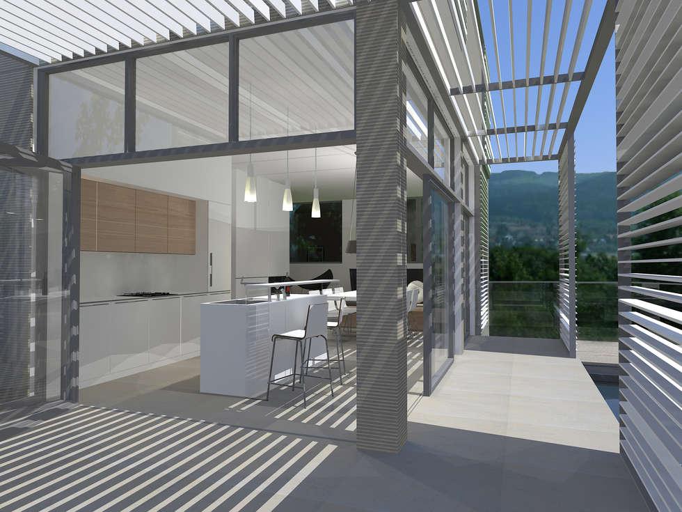 Haus am Hang: minimalistische Küche von Innenarchitektur | Ina Nimmrichter