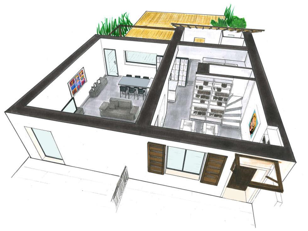 Projet Extension Maison SALON-DE-PROVENCE: Salon de style de style Minimaliste par Agence Mursmurs