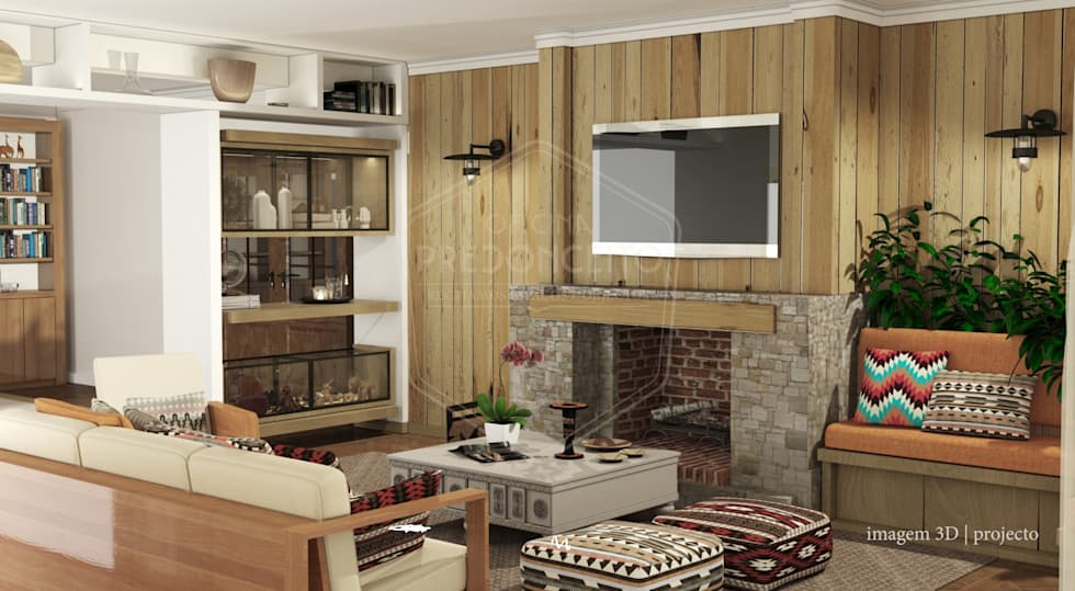 Projecto interiores e ambiente para Sala na casa rústica - Rustic house living room project and mood: Salas de estar rústicas por PreConceito