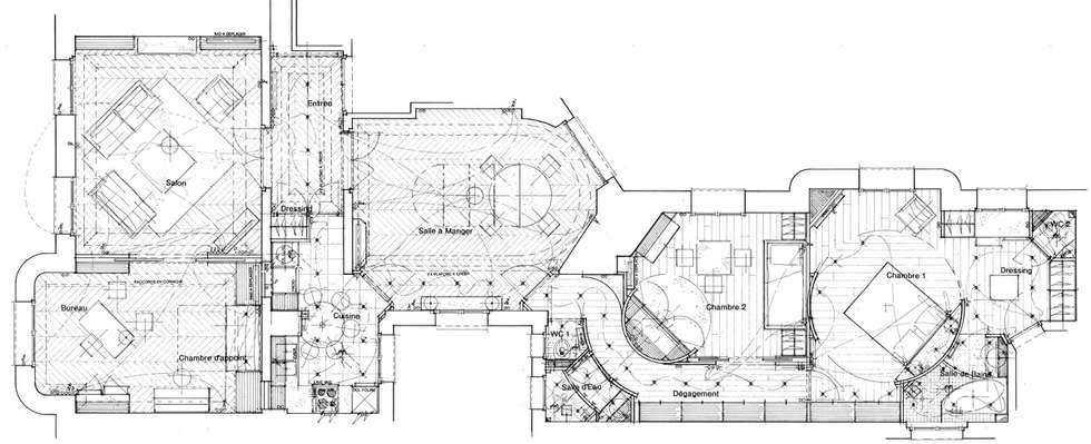 Plan de l'appartement PROJETE: Salon de style de style Moderne par Philippe Ponceblanc Architecte d'intérieur