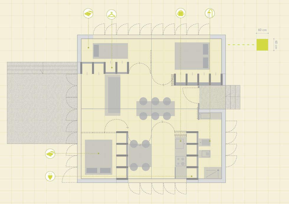 ECOSISTEMA45 _ pianta: Case in stile in stile Scandinavo di STUDIO M2R ARCHITETTURA