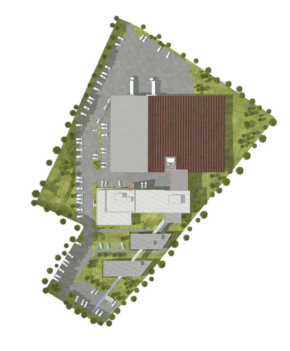 Laboratoire Roche - Plan masse: Maisons de style de style Moderne par ISIT ARCHITECTURE