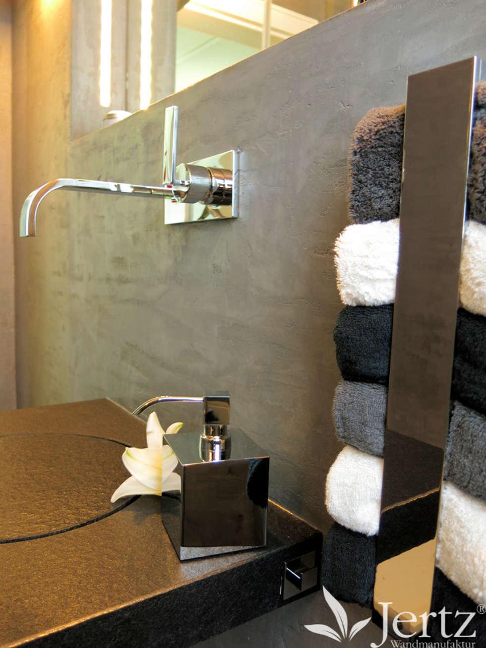 Badezimmer Ohne Fliesen Mit Marmorputz In Travertinoptik : Ausgefallene  Badezimmer Von Wandmanufaktur