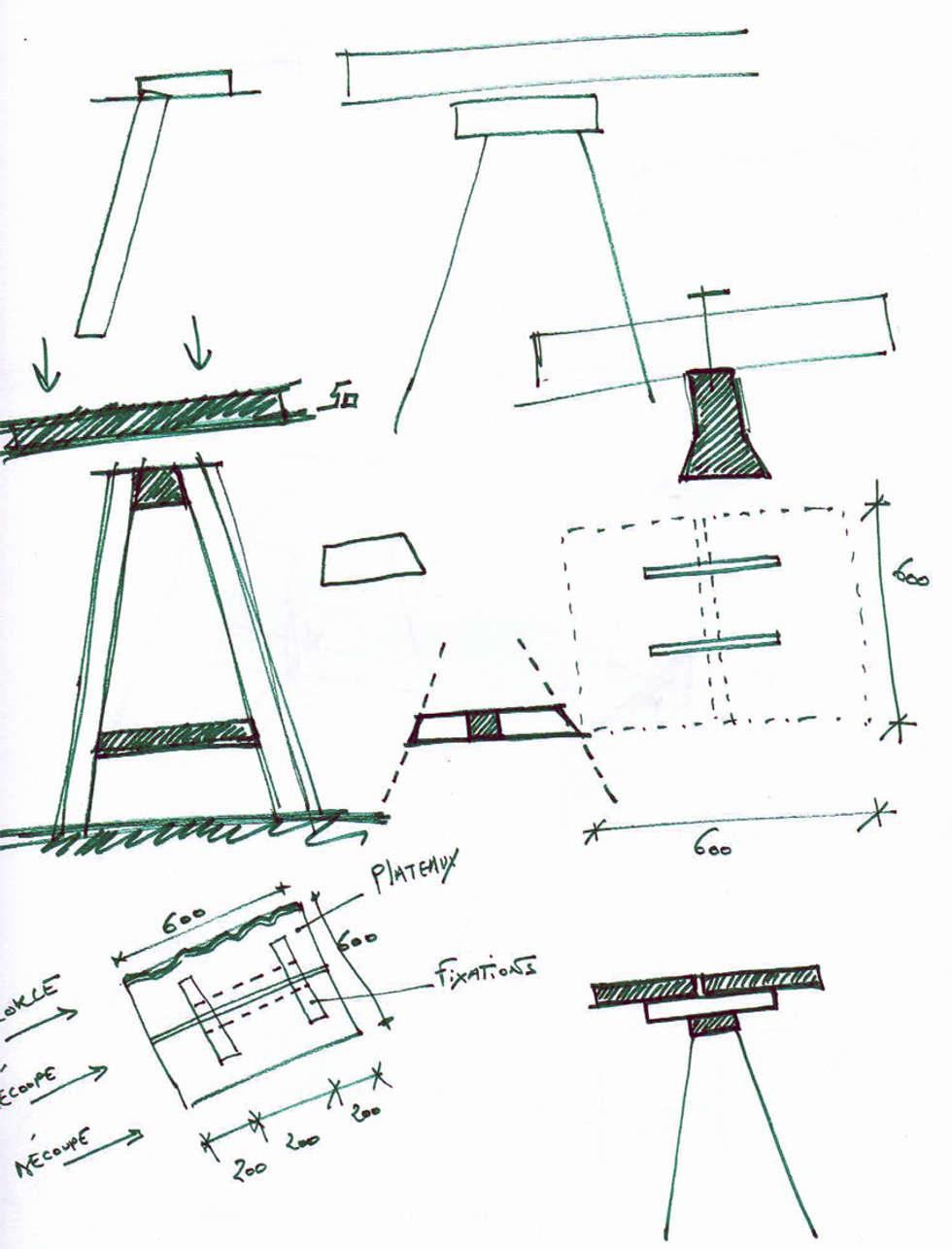 """Conception Mobilier pour """"Augusta"""": Restaurants de style  par ISIT ARCHITECTURE"""
