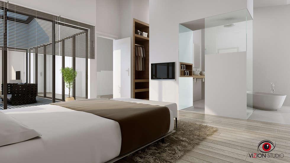 Perspective  3D chambre parentale pour la commercialisation d'une maison individuelle: Chambre de style de style Moderne par Vizion Studio