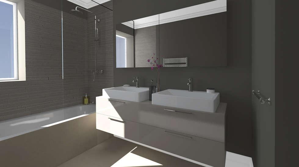Architecture d'intérieur - Appartement Bordeaux, France: Salle de bains de style  par Sandra Hisbèque