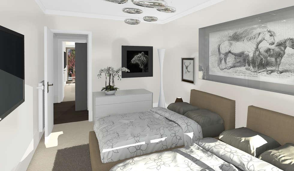 Architecture d'intérieur - Appartement Bordeaux, France: Chambre de style de style Moderne par Sandra Hisbèque