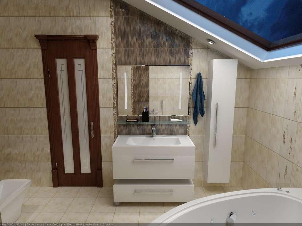 Санузел в мансардном этаже.: Ванные комнаты в . Автор – Дизайн студия 'Exmod' Павел Цунев