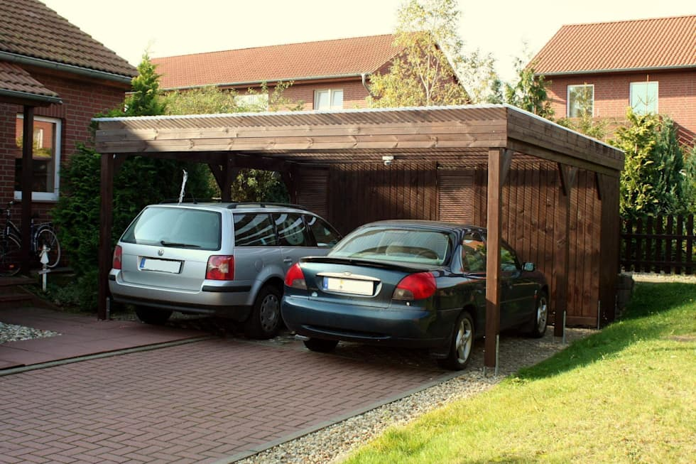 doppelcarport aus holz mit ger teraum rustikale garage schuppen von deutsche carportfabrik gmbh. Black Bedroom Furniture Sets. Home Design Ideas