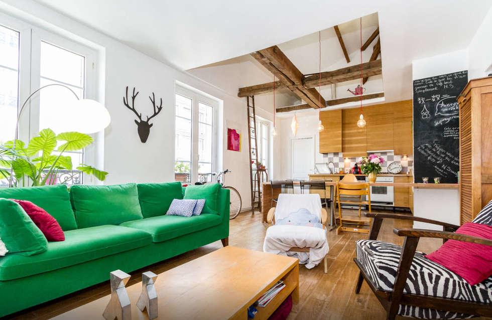 Salon et double hauteur: Salon de style de style eclectique par Atelier Jérôme Lanici