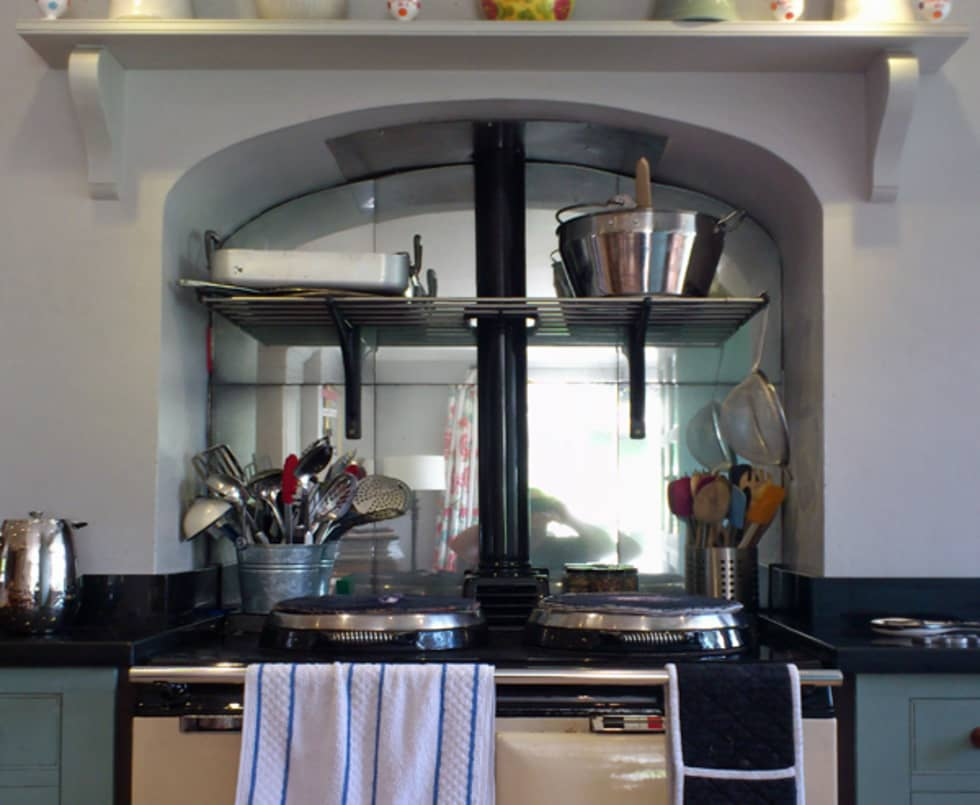 Antique Mirror Glass Aga Splashback Country Kitchen By Mirrorworks The Company