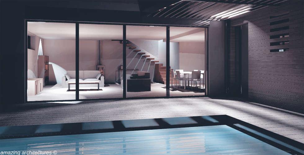 un espace de vie spacieux et généreux: Salon de style de style Minimaliste par amazing architectures