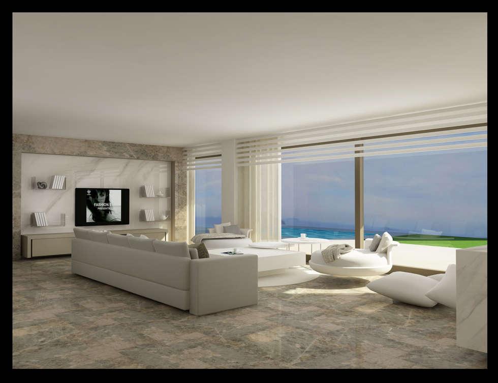 Archidecors – bodrum gümüşlük villa salon: modern tarz Oturma Odası