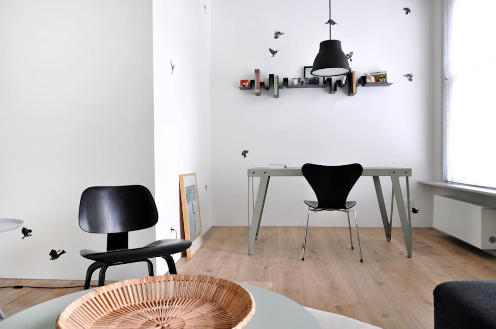 Wallpaper Sparrow: moderne Studeerkamer/kantoor door Snijder&CO