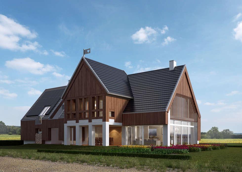 LK&1196: styl wiejskie, w kategorii Domy zaprojektowany przez LK & Projekt Sp. z o.o.