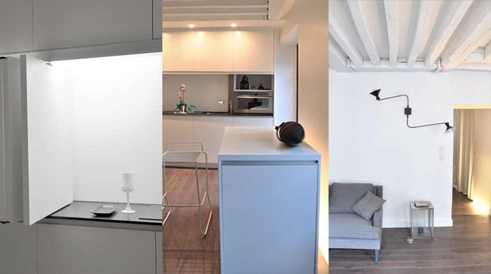 Principe éclairage travail / éclairage d'ambiance / éclairage dirctif: Cuisine de style de style Minimaliste par Elément commun
