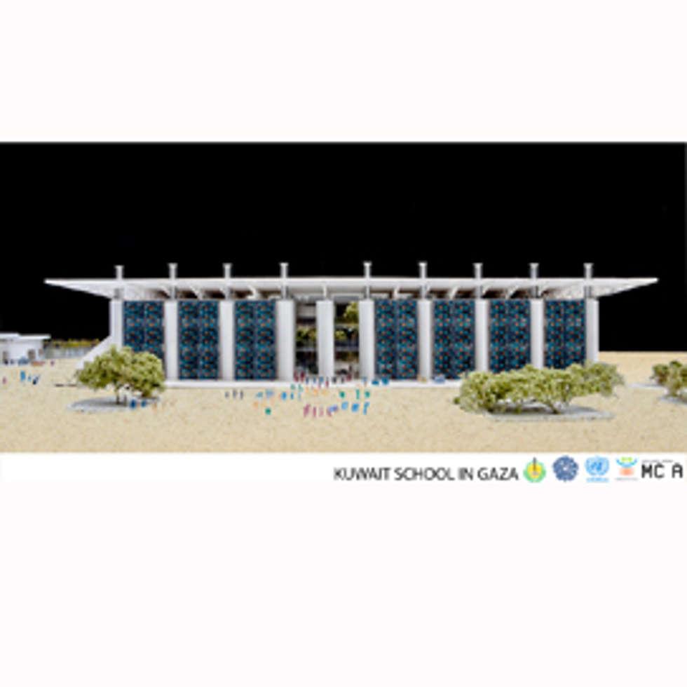 Kuwait School in Gaza, modello prospetto: Case in stile in stile Moderno di Mario Cucinella Architects