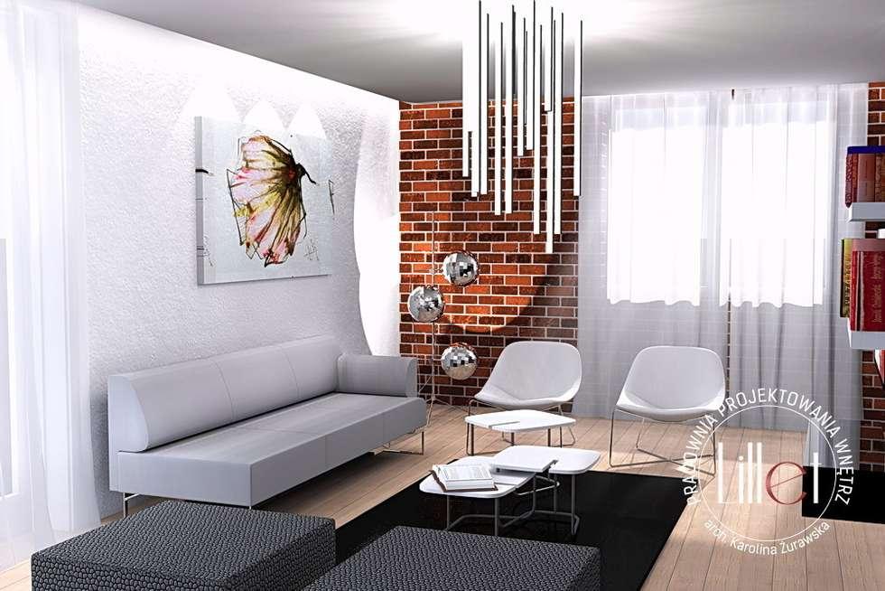 Salon w dwóch odsłonach: styl , w kategorii Salon zaprojektowany przez ATELIER LILLET Karolina Lewandowska