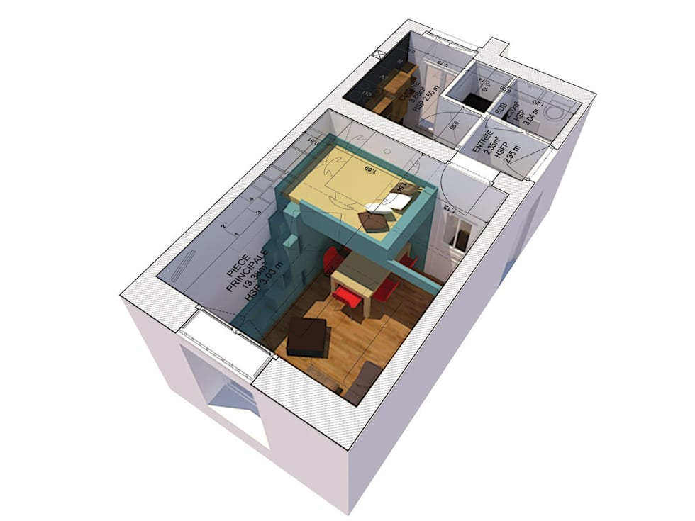 AXONOMETRIE: Salon de style de style Minimaliste par Pierre Georges Architecte