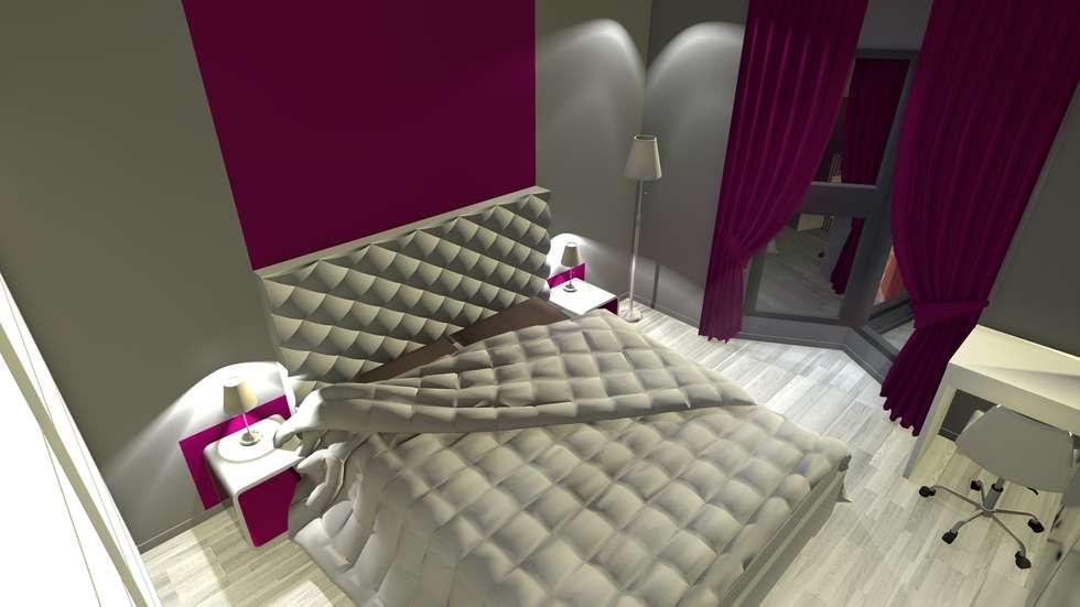 Rendu 3D de la chambre après travaux : l'espace lit: Chambre de style de style Moderne par KARA Design
