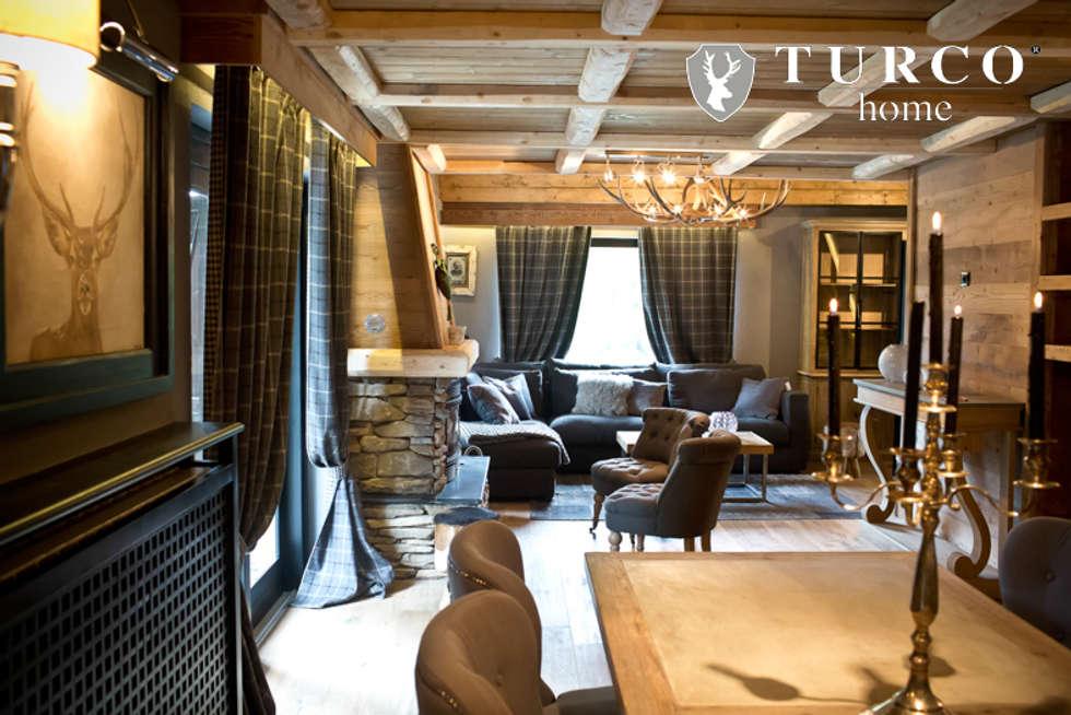 Villa di montagna: soggiorno in stile in stile rustico di turco home ...