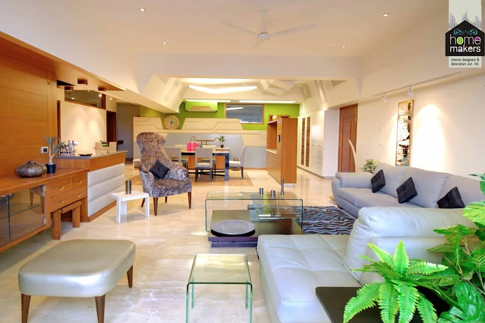 Screaming Colours: modern Living room by home makers interior designers & decorators pvt. ltd.