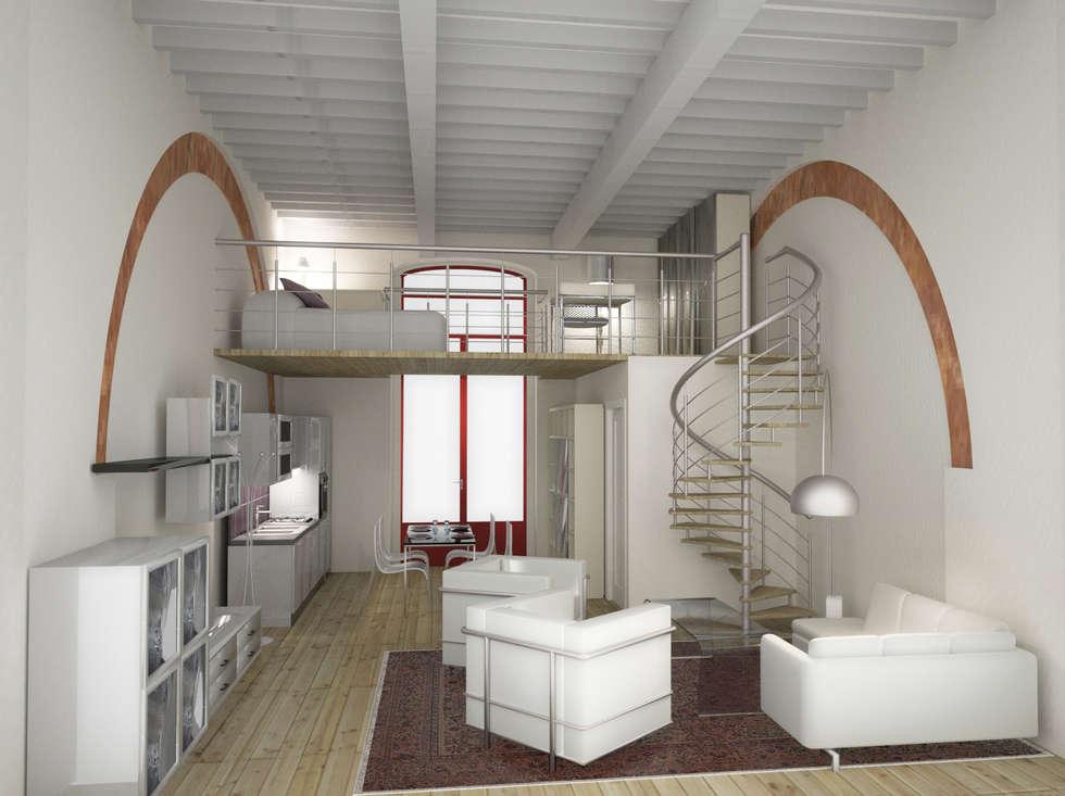 Progetto di ristrutturazione: Soggiorno in stile in stile Moderno di eccOfattO interiors