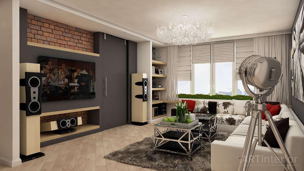 Дизайн интерьера квартиры в Киеве от «Artinterior»: Гостиная в . Автор – «Artinterior» – Студия дизайна интерьера