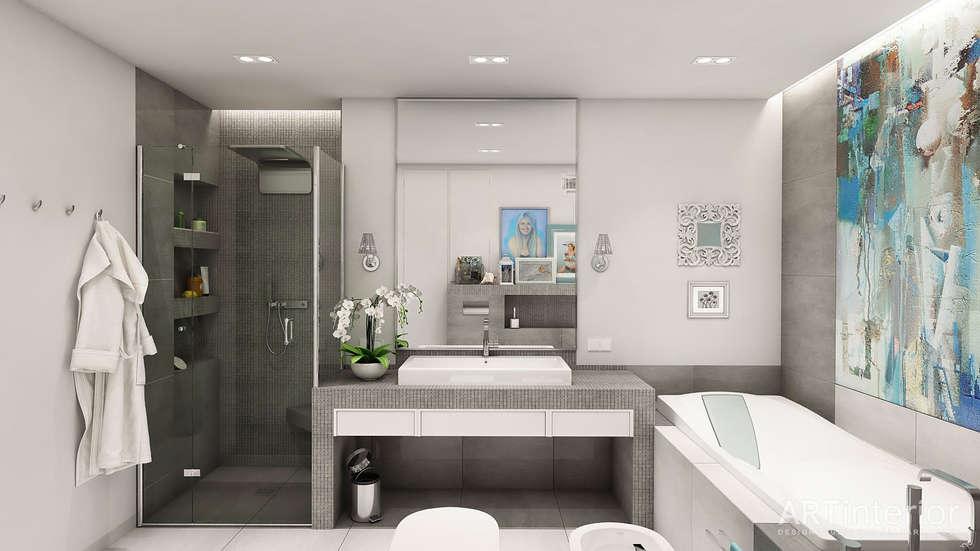 Дизайн интерьера квартиры в Киеве от «Artinterior»: Ванные комнаты в . Автор – «Artinterior» – Студия дизайна интерьера